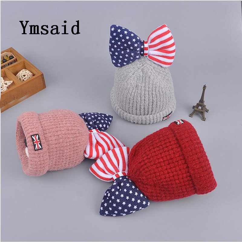 Ymsaid Beanie Hat For  Children Gift Star streaks Caps Bonnet Knitting Beanies Cap Winter Warm Glowing Bowknot Ski Hats Gorros gift children knitting wool hat cute keep warm rabbit beanie cap autumn and winter hat with earflaps whcn