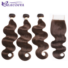 BEAUDIVA Pre-Colored Human Hair Weave med 4 * 4 Lukking 3 Bundler med Lukking 2 # 4 # Naturlig Farge Brasilian Body Wave Human Hair