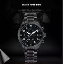 AILANG Multifunctional Watch Retro Men Military Watch 30M Waterproof Mechanical Watches Men Luminous Automatic Wristwatch Reloj ailang men s watch stainless steel flywheel automatic mechanical watch hollow multifunctional waterproof personality men s watch