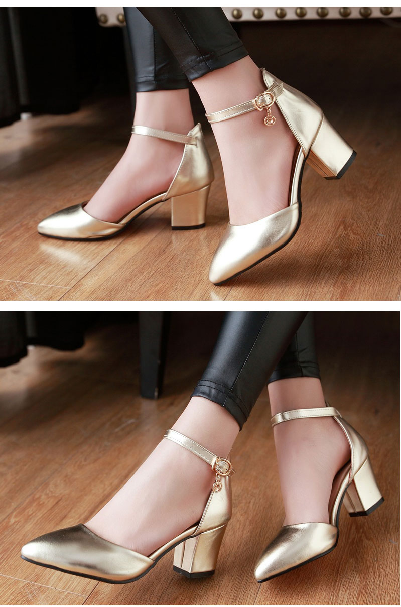 Meotina Shoes Woman 2017 New High Heels Spring Ladies Pumps Summer Two Piece Thick Heels Footwear Ankle Strap Shoes Sliver 34-43 4