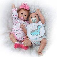 NPK Doll 18Inch Open Eyes Reborn Baby Doll Soft Full Body Silicone Lifelike Newborn Doll Boy Girl Gift For Children Kids Play