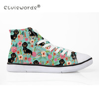 ELVISWORDS Women Canvas Shoes Flowers Dachshund Dog Print Vulcanize Shoes for Ladies Girls Teenager Cute Pet Dog Flats Zapatos