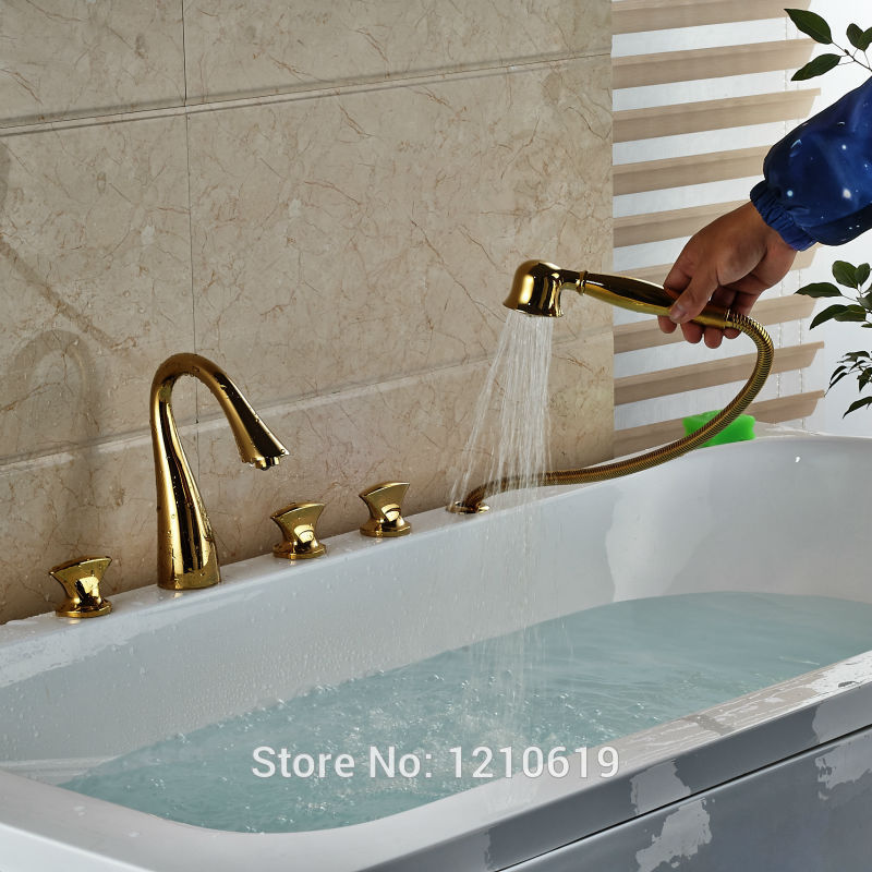 Newly Gold Plate 5Pcs Bathtub Faucet Basin Mixer Tap Deck Mount ...