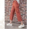 Spring and summer blue, green Cotton and linen pants Large size Elastic waist women's casual pants Female Wide leg pants