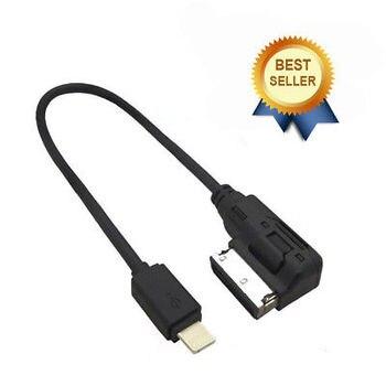 9e56fff6e3c Interfaz de Cable de Audio para coche AMI MDI AUX Adaptador de Audio Cable  de música Cable de carga negro para iphone 5 6 7 8