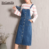 HCYO Plus Size 5XL Women Denim Dress Spring Autumn Spaghetti Strap Dresses Women Loose Casual Long Denim Sundress Overalls Dress
