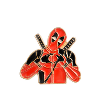 Marvel Movie X-MAN Deadpool Pose Love Heart Enamel Pin Gold In Red Brooch Bag Backpack Jeans Clothing Plate Jewelry