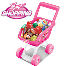Children Pretend Play Super market Shopping Cart Toy fruit vegetable toy  Indoor Outdoor  pink kitchen toy