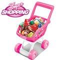 Crianças pretend play supermercado brinquedo carrinho de compras de frutas vegetais brinquedo interior ao ar livre brinquedo de cozinha cor de rosa