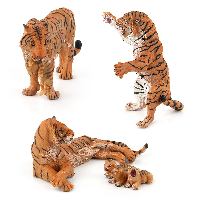 3 Kinds Simulation Tiger Figure Collectible Toys PVC Animal Action Figures Wild Animal Toys Kids Cognitive Toys