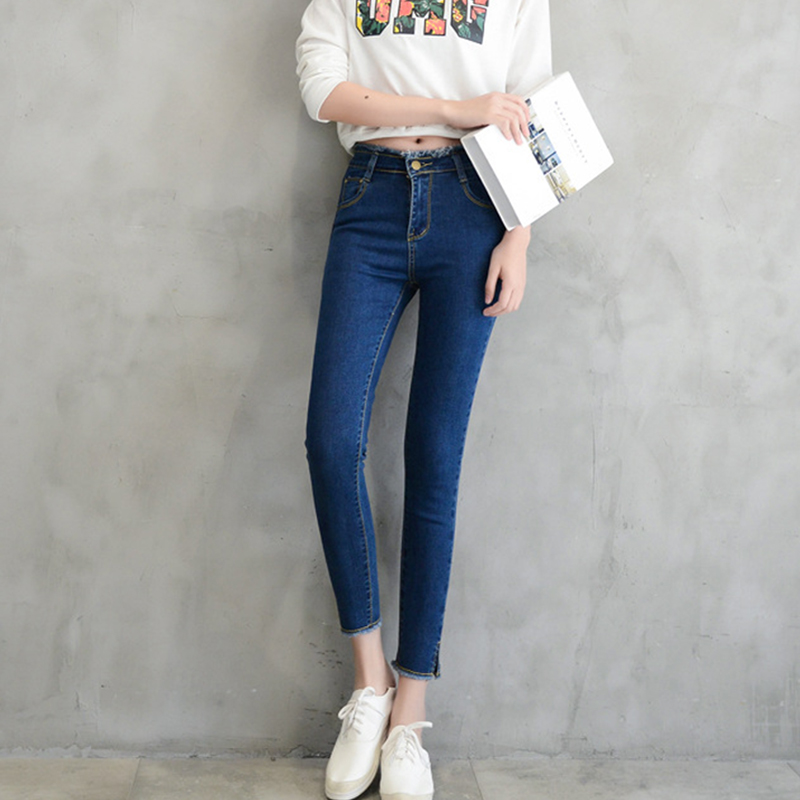casual skinny pencil pants Woman With High Waist Jeans washed High Elastic plus size Ankle-length Jeans trousers Jeans for women