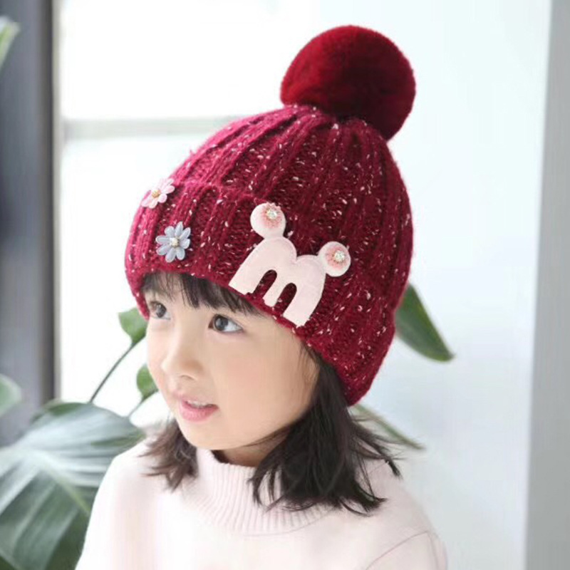 Baby Hat Cute The high quality Knitting wool Hat Children Winter Warm Knitted Cap Girls Photography Headwear Caps wuhaobo the new arrival of the cashmere knitting wool ladies hat winter warm fashion cap silver flower diamond women caps