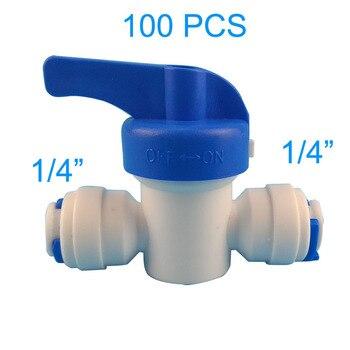 цена 100 PCS Water Connect 1/4 inch Ball Valve Shut off Quick Connect for Water Reverse Osmosis System Aquarium Osmosis онлайн в 2017 году
