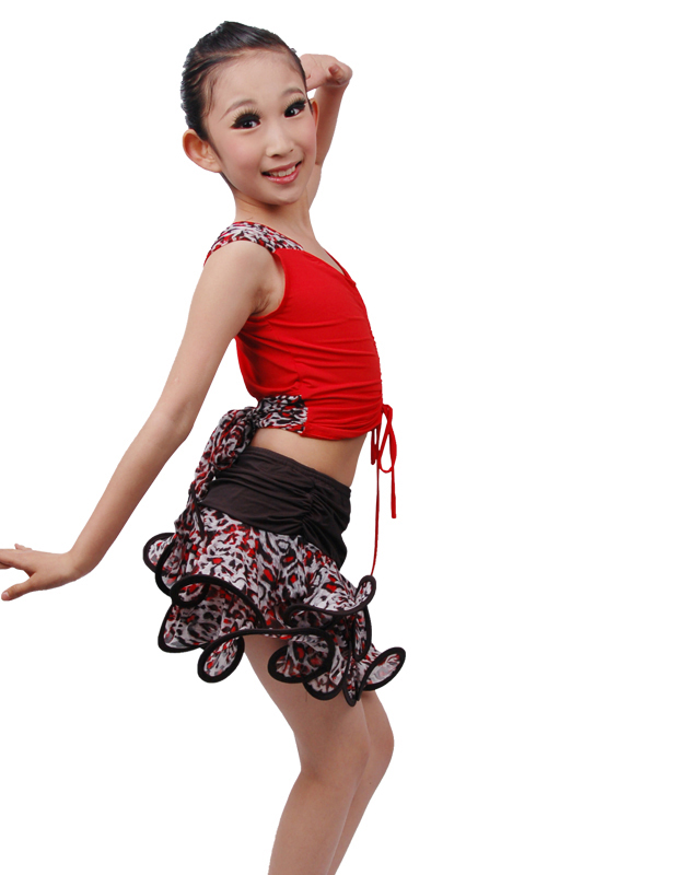 Hot Sale Girls Leopard Curl Edge Skirt Suit Children Kids Performance/Practice Latin Dance Dress