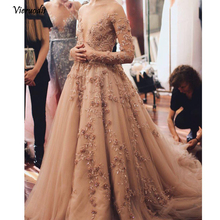 Modest Champagne Floral Lace Evening Dresses Full Sleeves Deep V-neck Formal Party Dress To Prom Shiny Rhinestone Gowns 1 цены