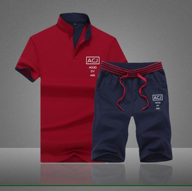 Summer Men Sportsuits Set 2019 Mens Stand Collar Fashion 2 Pieces T-shirt Shorts Tracksuit Brand Fitness Suits 2PC Top Short Set