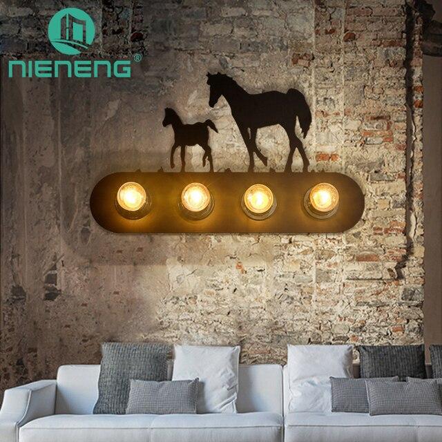 Nieneng Wall Lamps Bedroom Horse Lights Vintage Sentiment Club Fixtures Incandescent Iron Lighting Mount Lamp Icd60305