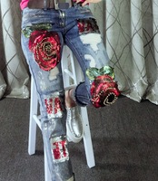 Fashion Red Rose Flowers Sequin Embroidered FlaresBeads BF Women Hole Ripped Jeans Ladies Denim Pencil Pants