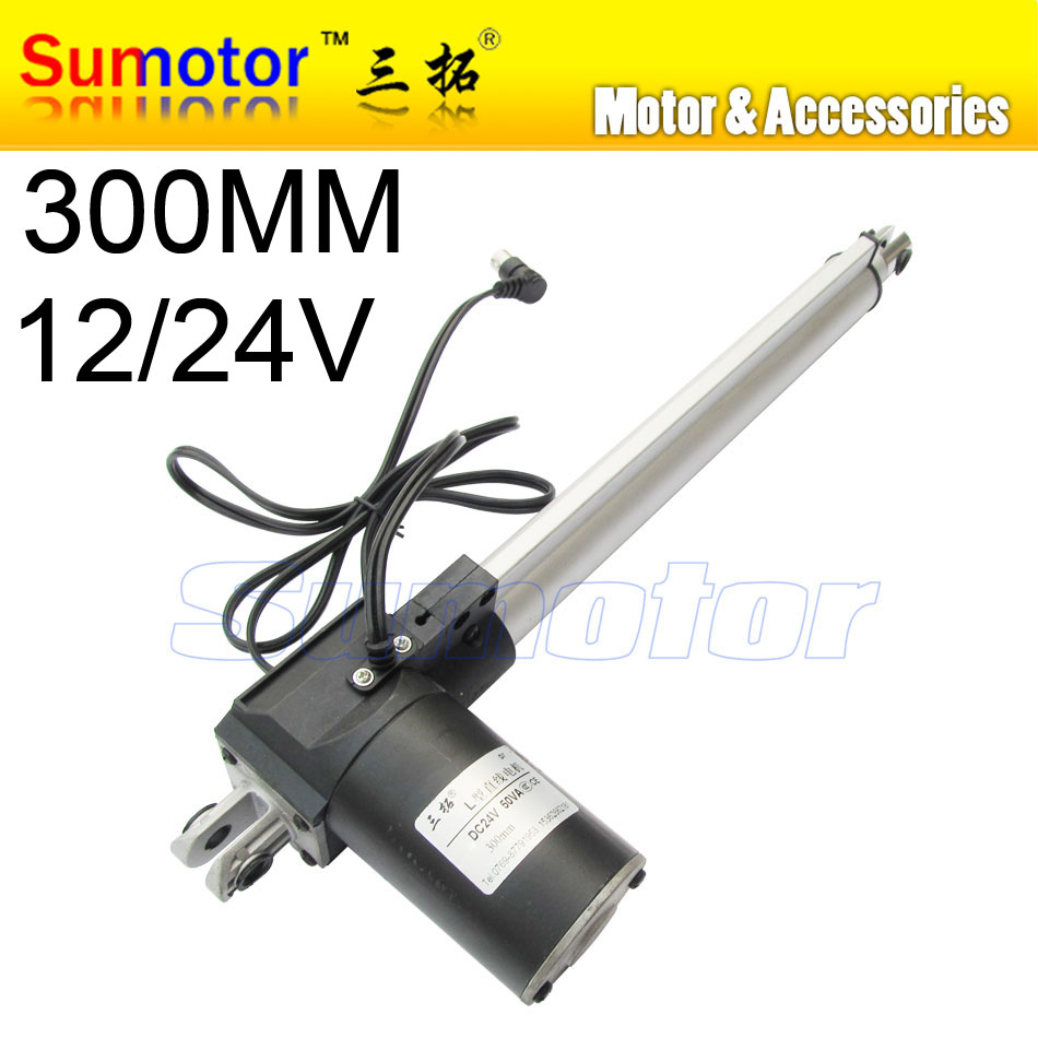 ФОТО L300 12 inch(300mm) travel Electric linear actuator dc motor, DC 24V, 5/10/30mm/s, Heavy Duty Push 600/300/100Kg, high Quality