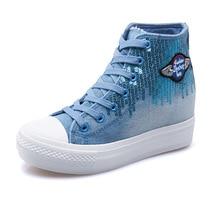 Denim High Help Sequins Rivet cowboy Women Footwear 2016 Autumn British Style Canvas Student Platform Women's Shoes