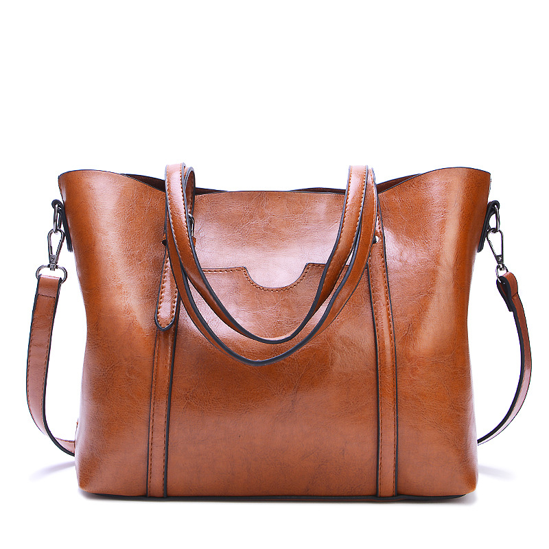 2018 hot Promotional new fashion women's bag big bag wild shoulder Messenger bag simple oil wax leather portable women tote bag