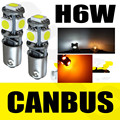 10Pcs Amber/White 5-SMD LED 433 434 BAX9S H6W OFFSET PINS CANBUS NO ERROR FREE SIDE LIGHT BULBS