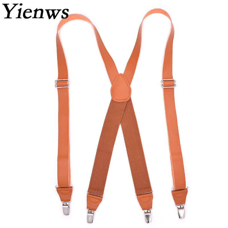 Yienws Vintage Brown Leather Suspenders For Men Elastic Plain Brace Suspensorio Masculino Tirantes Hombre 125CM YiA035