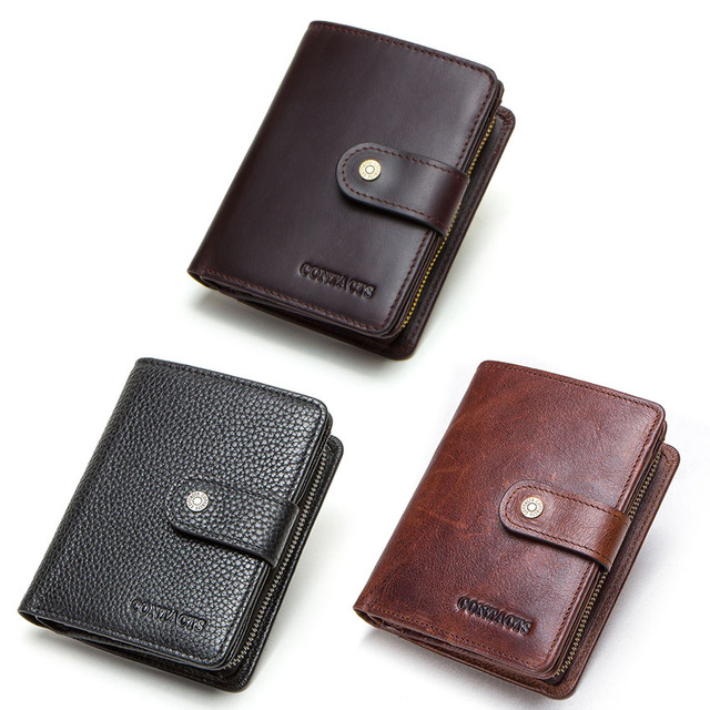 CONTACT'S genuine leather RFID men's wallet short coin purse small hasp walet partmon male short wallets men high quality cuzdan 4