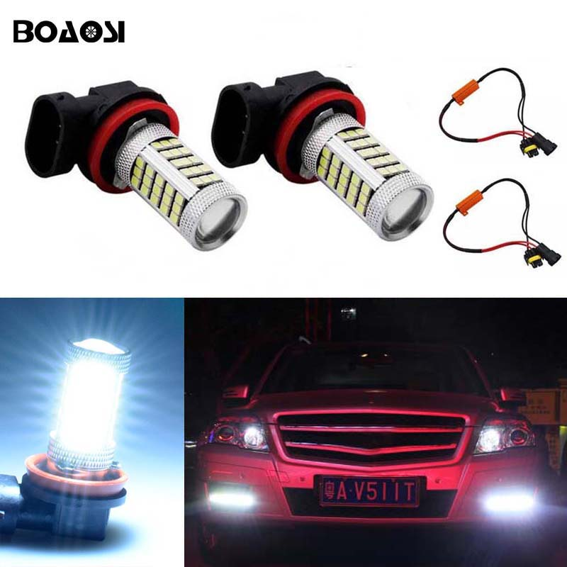 2019 New Style 2x Car H8 H1 Led Bulb Lens Projector Light Fit For Auto Fog Light Driving Chip Lamp Accessories Trim White Color Style Car Lights