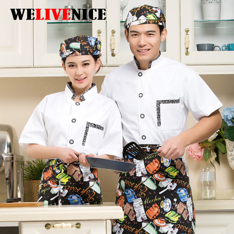 2017 Chef Costume Food Beverage Hotel Dedicated Short Sleeve Kitchen Professional Casual Cook Cooking Uniforms #7435