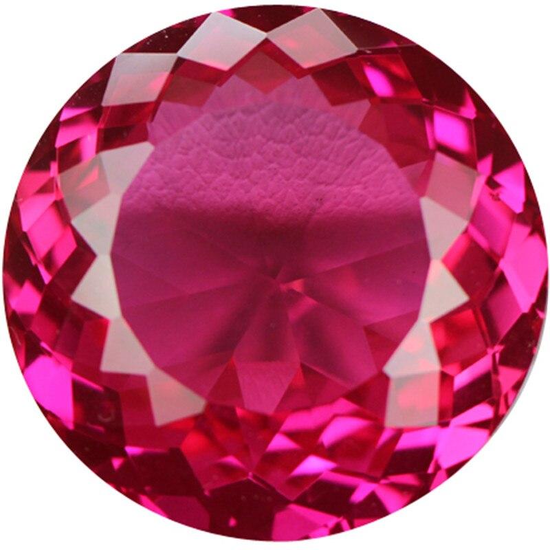 Nouveauté tant de coupes de forme ronde personnalité pour bricolage faire des pierres rose corindon pierre décorative pierre synthétique