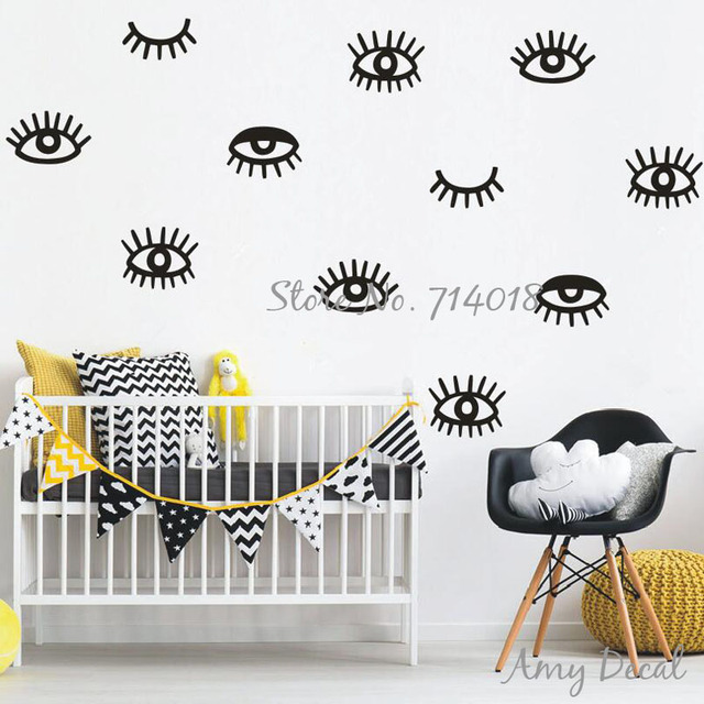 US $7 87 26% OFF|Eyes Wall Decals Eyelash Vinyl Wall Decals, Modern Unique  Wall Stickers for Kids Room Baby Nursery Decor Muraux A728-in Wall Stickers