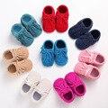 Cuero de LA PU Bebé Mocasines hechos a mano con cordones Zapatos borla Del ante Del Bebé Primer Caminante zapatos Chaussure Bebe recién nacido