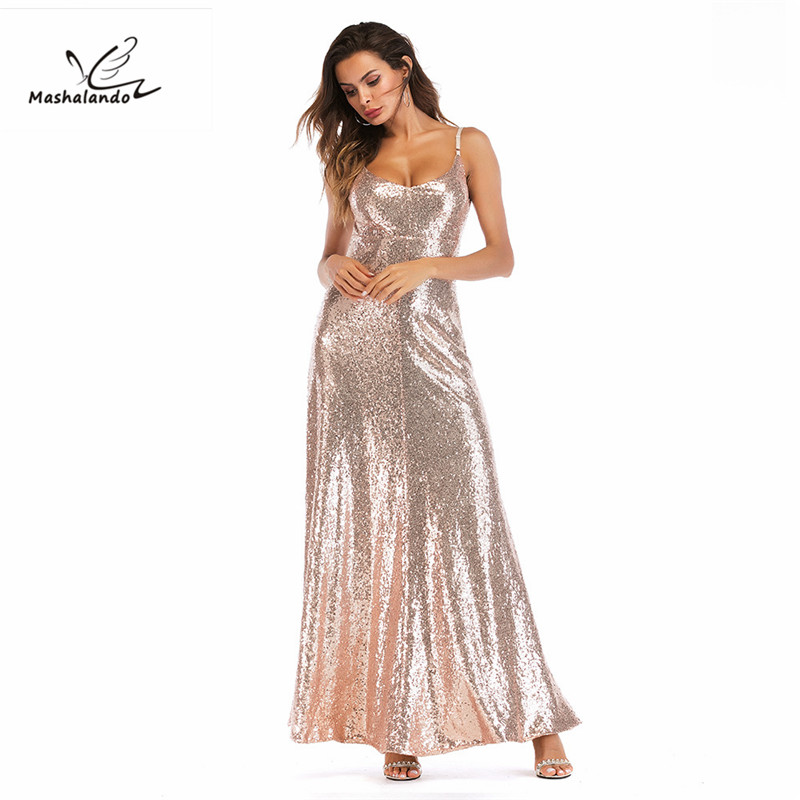 0b3a472c33 Elastic Sequin V Collar Backless Long Dress Rose Gold Sequin Party Maxi Dress  2018 Sexy Backless