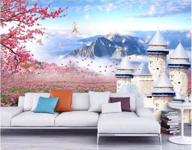 Benutzerdefinierte Foto Mural 3d Tapeten Für Wohnzimmer Schloss Lavendel  Berge Malerei 3d Wandbilder Wallpaper Für Wände