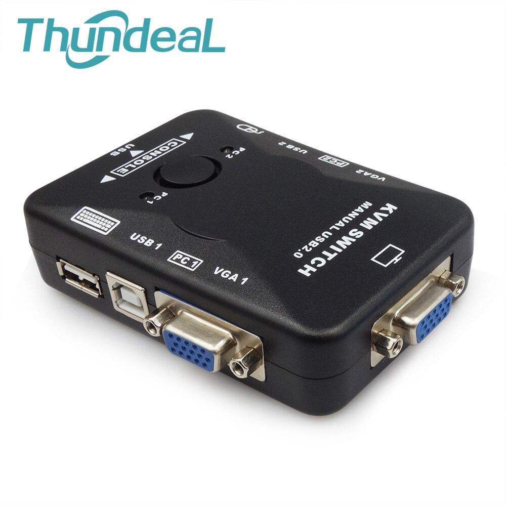 Universal 2 puerto VGA KVM USB conmutador USB 2,0 VGA Manual Switch BOX 1920*1440 para el ratón del teclado del Monitor adaptador conectar la impresora