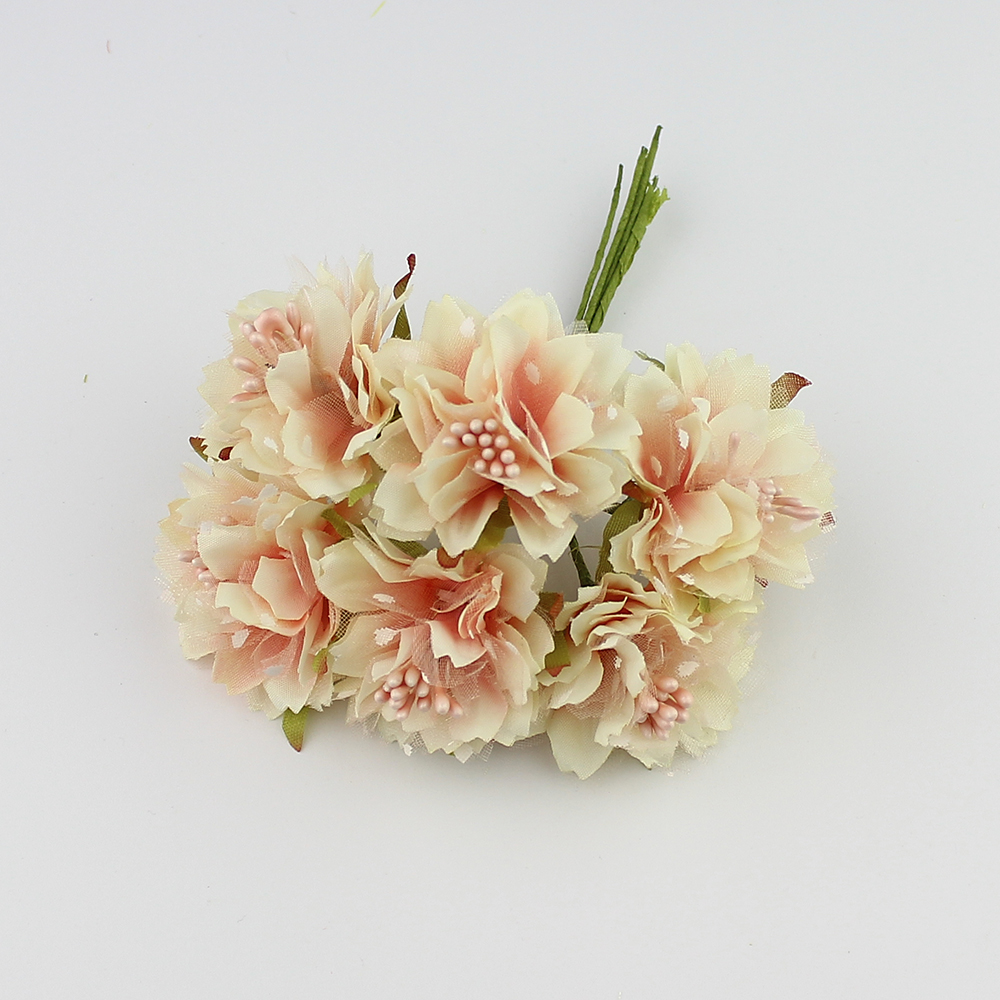 Huadodo 6pcs 4cm Artificial Carnation Flowers Stamen Silk Flower