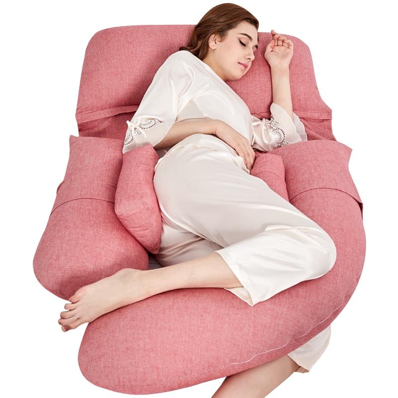 Literie de luxe Super douce oreiller complet pour les femmes enceintes U Type oreiller de grossesse Long côté dormeur maternité oreiller d'allaitement