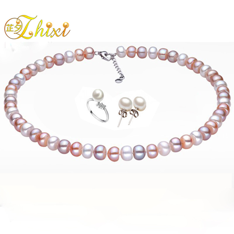ZHIXI Pearl Jewelry Sets For Women Fine Jewelry 10-11mm Natural Pearl Pearl Necklace Pendant Earrings Ring Trendy Gift T201 цена