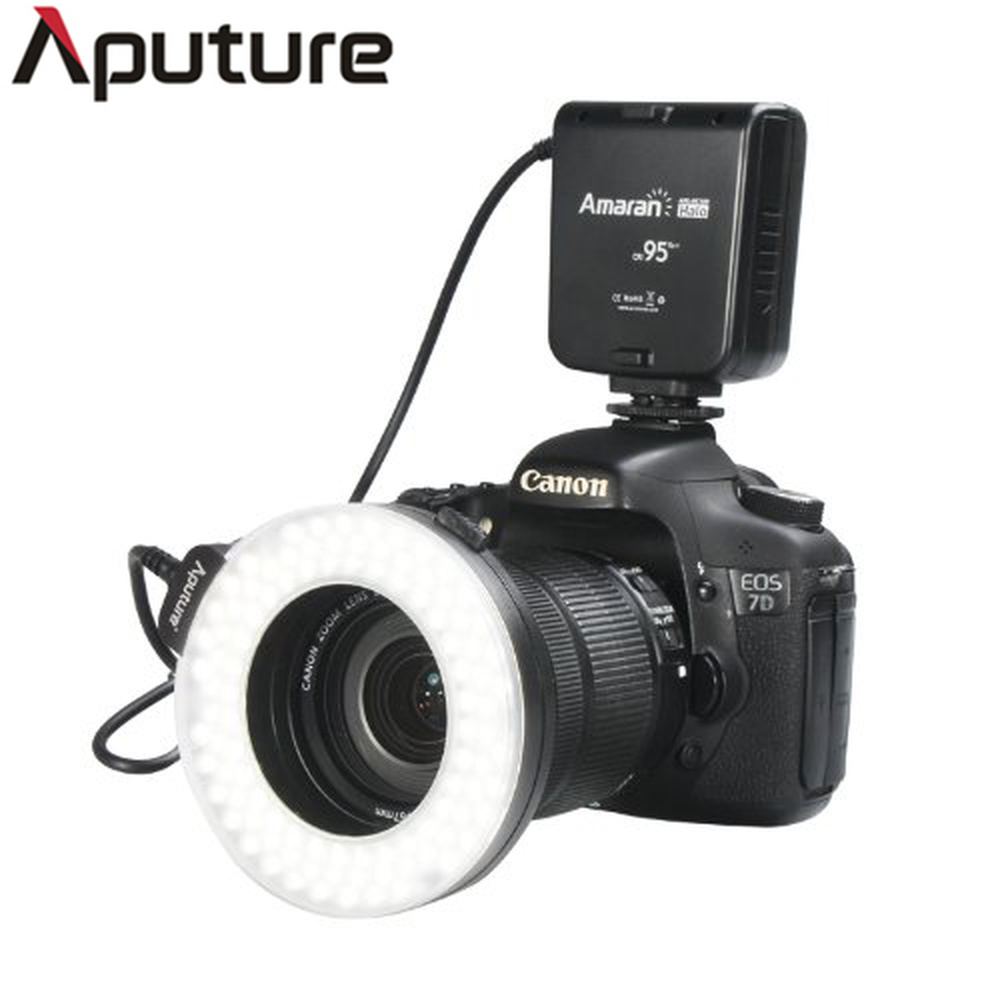 Aputure Amaran Halo Flash AHL HN100 Marco LED Ring Flash Four Diffusers 8 Adapter Rings for
