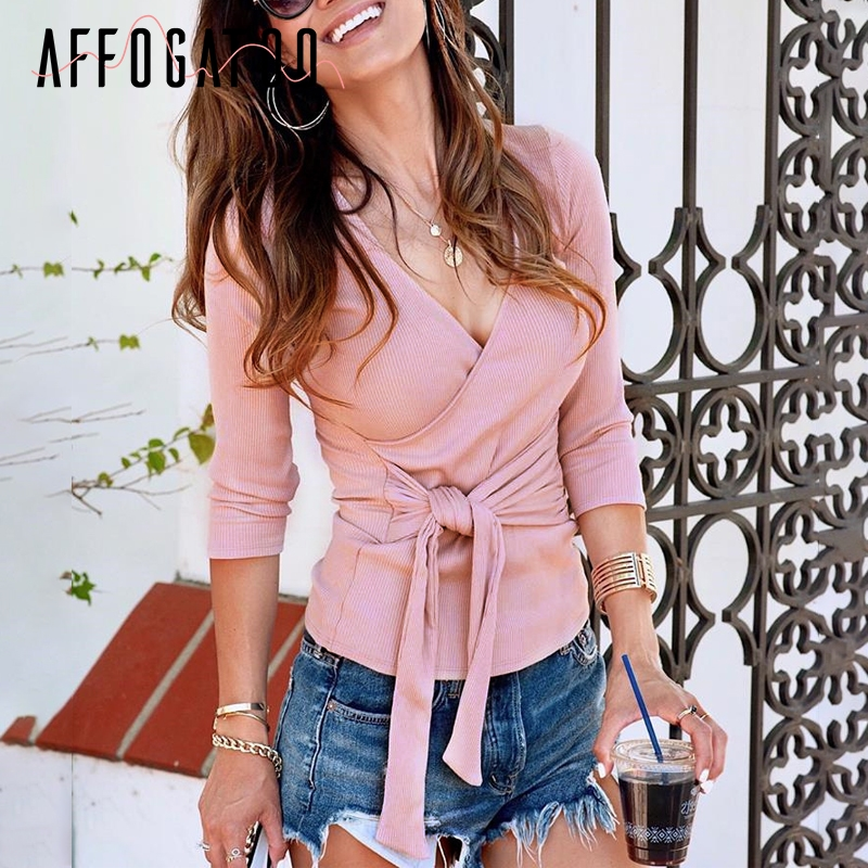 Affogatoo Elegant lace knitted blouses women V neck long sleeve winter blouse female shirt top Casual bow cotton blouse ladies