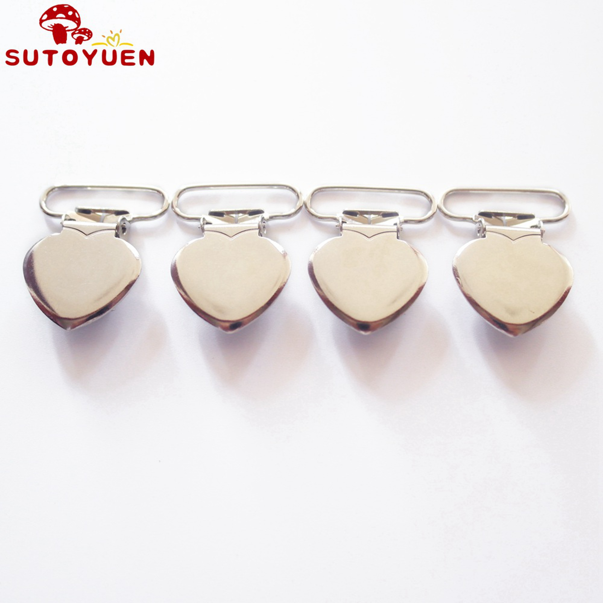 Free Shipping 100 pcs 1'' 25mm Silver Colored Heart Shaped Baby Pacifier Clips MAN  Dummy Clip Suspender Clip Rack Plating-in Pacifier from Mother & Kids    2