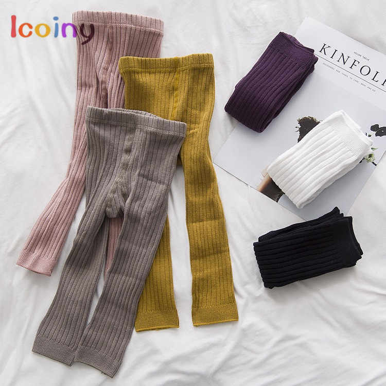 ICOINY Girls Leggings Ribbed Baby Children Rib Cotton Leggings Striped Skinny Kids Autumn Winter High Waist pants for Toddler
