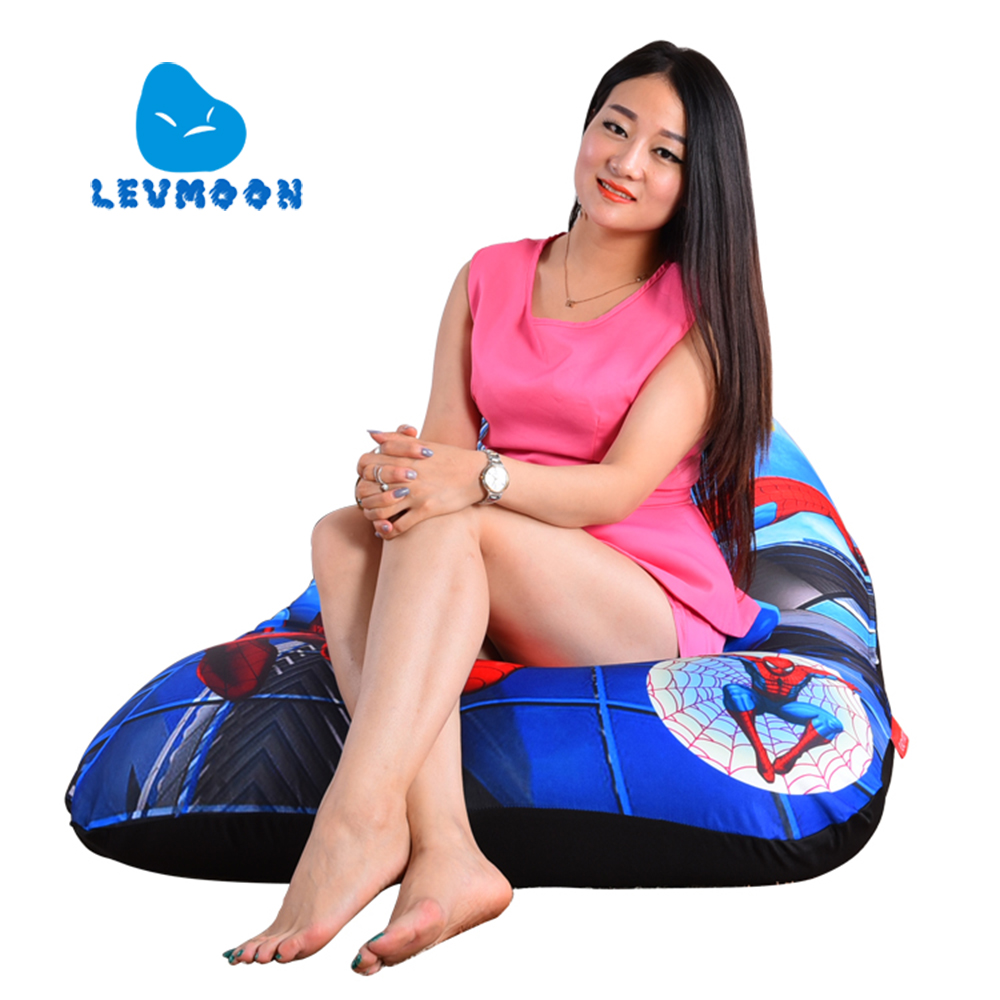 LEVMOON Beanbag Sofa Chair Spider-Man Seat zac Comfort Bean Bag Bed Cover Without Filler Cotton Indoor Beanbag Lounge Chair серьги серебро с аметистом и фианитами присцилла