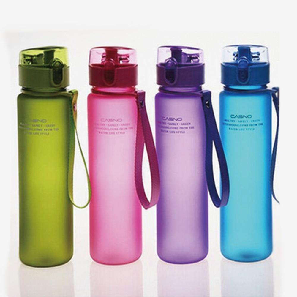 400 ml 560 ml דליפת הוכחה ספורט מים בקבוק סיור טיולים נייד בקבוקי פלסטיק Drinkware צבעוני לשפשף BPA משלוח מים בקבוקים