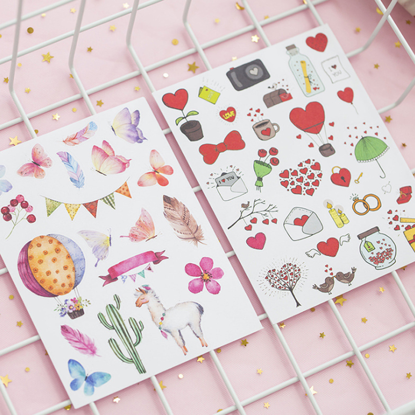 8sheets pack Romantic DIY Scrapbooking Stickers Decorative Sticker For Notebook Diary Stationery in Stickers from Home Garden