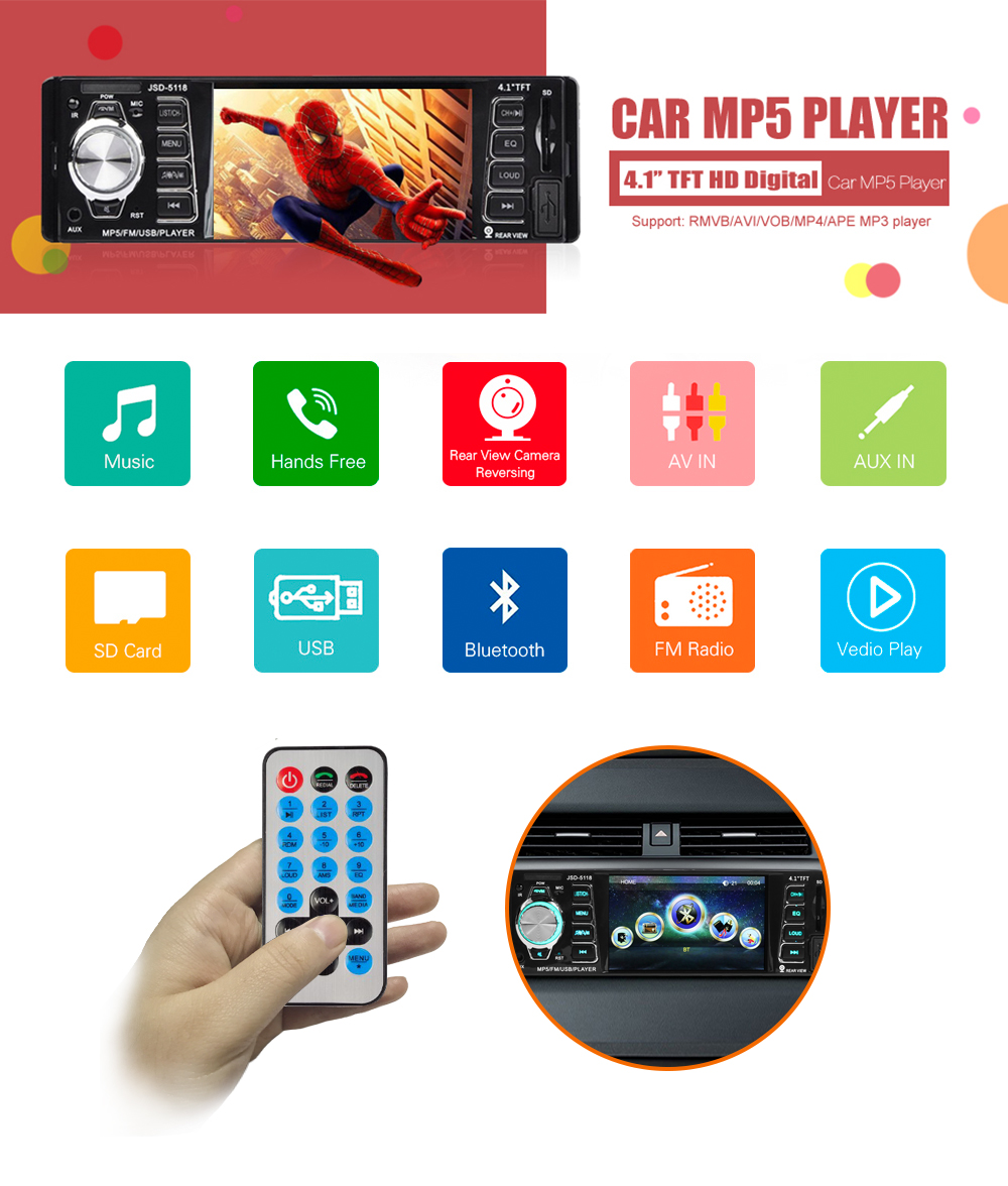 AZGIANT 4.1 inch 1 Din Car Radio MP5 player Audio Stereo ISO output USB AUX FM Remote Control Bluetooth with Rearview Camera image