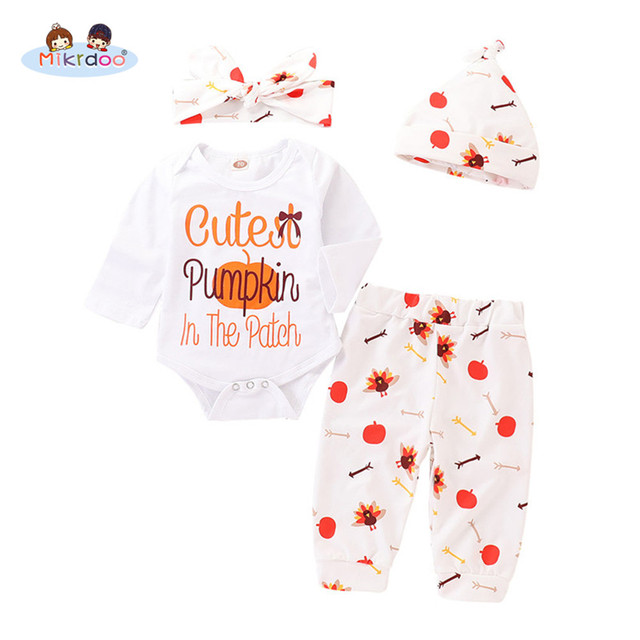 20bb0fb3b Newborn Baby Boy Girl Thanksgiving Clothes Set Pumkin and Letters ...