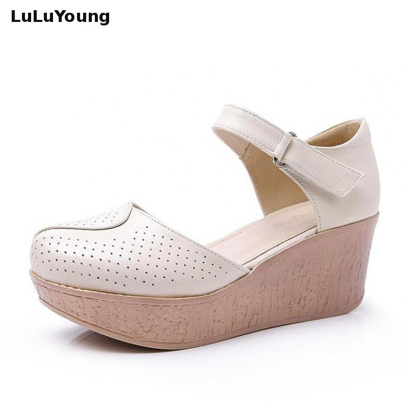 2018 Summer New Style Hollow Sandals Casual Women s High Heels Platform Shoes Wedges Genuine Leather