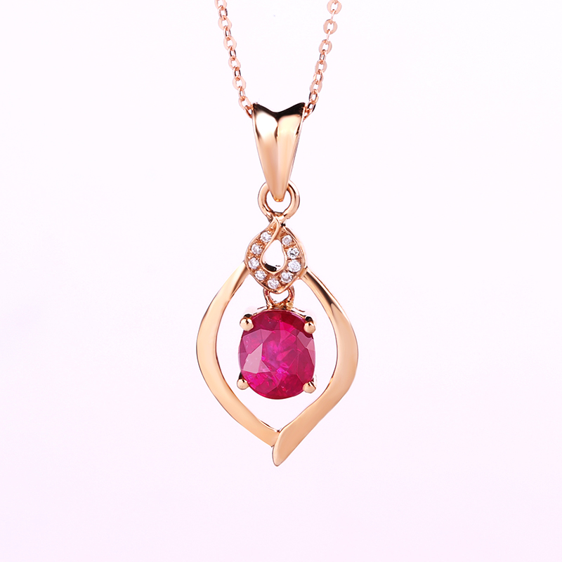 Style Pendants Necklace 18K Rose Gold Color Fashion Red Natural Ruby Fine Wedding Jewelry For Women Diamond Charms